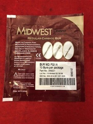 NEW PACK OF 10 MIDWEST Regular Carbide Dental Burs FG1/4 389201