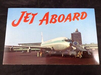 Jet Aboard New York International Airport Vintage 1950s Chrome Postcard