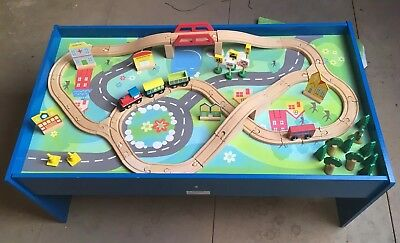 CHAD VALLEY Wooden Table and 90 Piece Train Set Develop Creativity ...