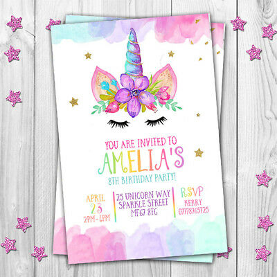 UNICORN INVITATIONS CARDS Birthday Party Invites Kids Girls Pink