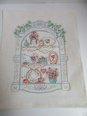 Finished Sunset Cross Stitch Victorian Shelf Pastel Completed Goose Vines