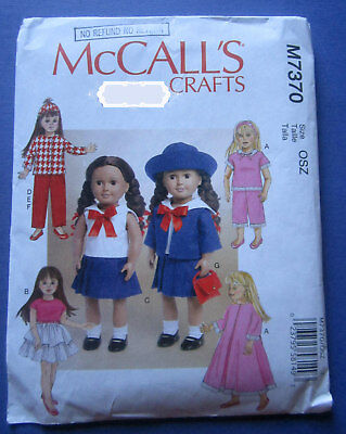 "Uncut 18"" Retro Doll Costume Patterns by McCall's  2016"