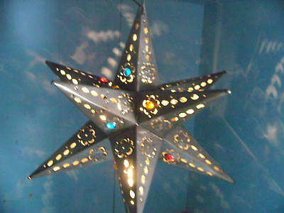 """18"""" Moravian Mexican tin star lighted marbles Bronze"""