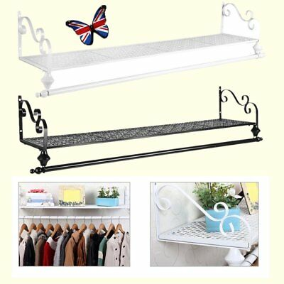 Heavy Duty Metal Clothes Rail Wall Mounted Garment Hanging Rack