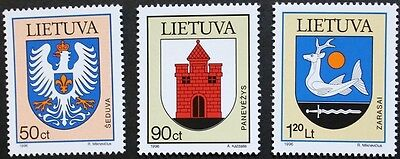 Town arms stamps, 1996, Lithuania, SG ref: 628-630, 3 stamp set, MNH
