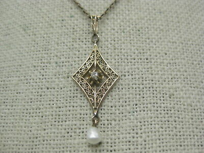 """Victorian 14kt Diamond Filigree Necklace with Baroque Pearl Drop, 17.25"""", 2.66 g"""