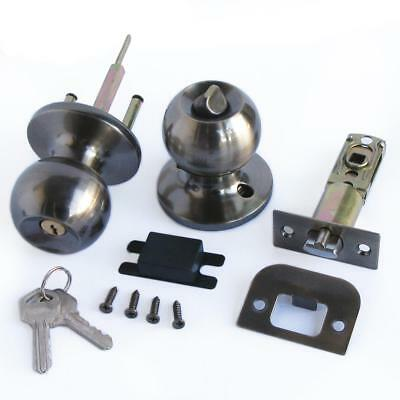 Stainless Bronze Color Keyed Entry Rotation Round Door Knobs Entrance Lock