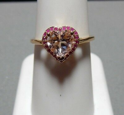 Size 7 Genuine Morganite Heart with Ruby Halo 10K Yellow Gold Ring 1.08ct