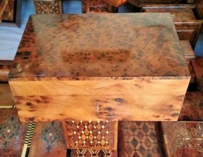 Jewelry-Box-Wooden-Thuya-Hand-Carved-With-Key-amp-Removable-Tray-Rare wood