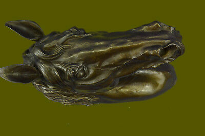 Horse Lovers Real Bronze Horses Head Bust Sculpture Statue Equestrian Decor DB