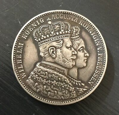 Prussia 1861 A Thaler Taler Silver Coin Germany Prussia-Coronation