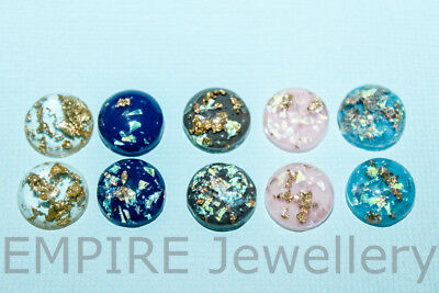 10 x Mixed Colours Gold Fleck Resin Flatback 12x12mm Cabochon Cameo