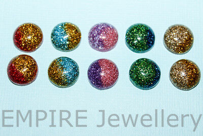 NEW 10 x Mixed Two Colour Glitter Resin Flatback 12x12mm Cabochon Cameo