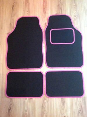 4 Piece Universal Non Slip Car Mats - Black Mat With Pink Trim