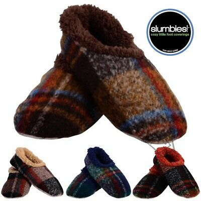 NEW Slumbies Men's Bold Plaid Slippers Mens Non-Skid Soles Sherpa Lining