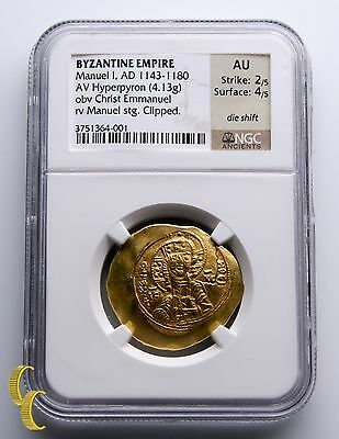 Manuel I 1143-1180 A.D. Gold Hyperpyron Byzantine Empire Coin Graded by NGC AU