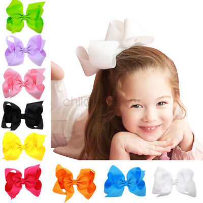 6inch Large Big Girl Baby Boutique Hair Accessory Knot Hair Bow Alligator Clip
