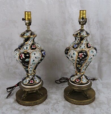 Pair of Vintage Mid C. Hand Painted Capodimonte Floral Table Lamp Italy Dolphins