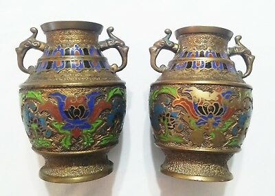 Pair of Antique Japanese Champleve Enamel & Brass Vases with Dragon Handles