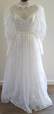 Vintage 80s HOLSTENS Adelaide WHITE Organza Floral Lace WEDDING DRESS size 8