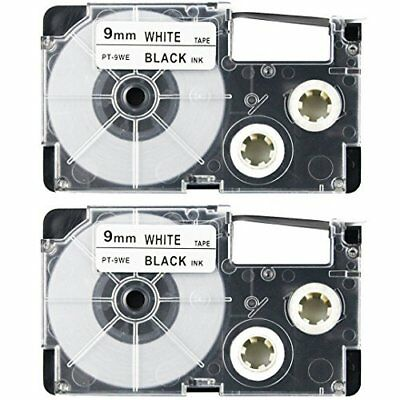 2PK XR-9WE Black Ink on White Label Tape Compatible for CASIO KL-60 100 9mm 3/8""