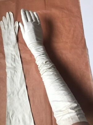 Vintage Fancy Gloves White Leather Extra Long Sz Xs Wedding Costume Theater