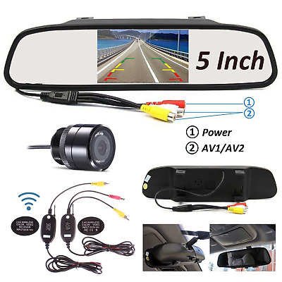 """Rear View Mirror Monitor 5"""" Car Back Up Reverse Wireless Camera Parking System"""