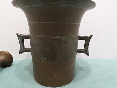Antique Bronze Mortar and Pestle Medical Pharmaceutical