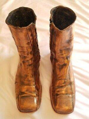 Very Rare Antique Vintage Genuine Bronzed Copper Dipped Adult Boots - Pair