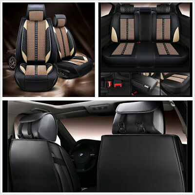 Beige PU Leather Ice Silk 5 Seats Car Seat Protector Covers Durable Four Season