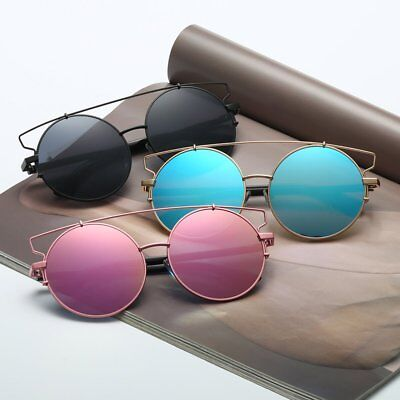Fashion Cat Eye Sun Glasses Oversized Big Round Metal Frame Female Sunglasses AU