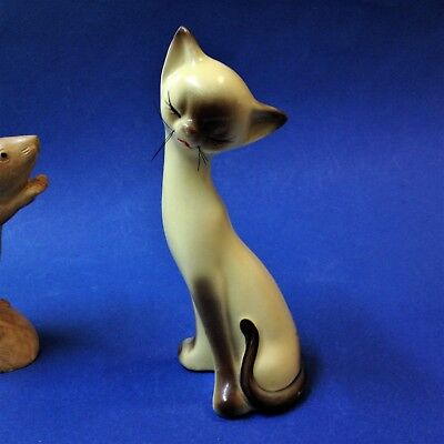 Retro Late 60's - Porcelain Siamese Cat Shaker w Whiskers - 17cm Tall - No Chips