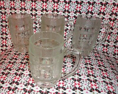 4 Vtg Dads Root Beer Heavy Clear Glass Barrel Mug FREE SHIPPING rootbeer soda