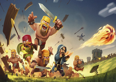 Clash Of The Clans Fighting Laminated Poster Print  Various Sizes
