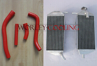 Aluminum Radiator and RED Hose For YAMAHA YZF450 YZ450F 2010 - 2013 10 11 12 13