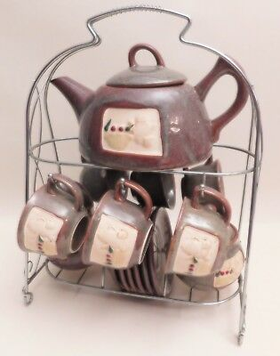 Decorative 6 Person Tea Set on Stand