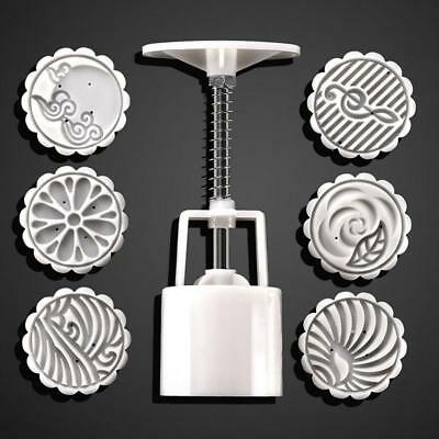 Round Mooncake Mold Moon Cake Decoration Mould Stamp DIY Tool + 6 Stamps ED