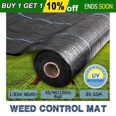 Weedmat Weed Control Mat Woven Fabric 1.83m x 50m/90m/100m Garden Plant 85gsm AU