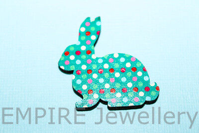 1 x Spot Pattern Rabbit Wooden Laser Cut Cabochon LG 37x36mm Pendant Embellish