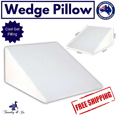 Wedge Bed Pillow Gel Memory Foam Neck Back Support Home Cushion Washable Cover