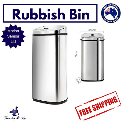 Rubbish Bin Kitchen Waste Trash Automatic Stainless Steel Motion Sensor 50L