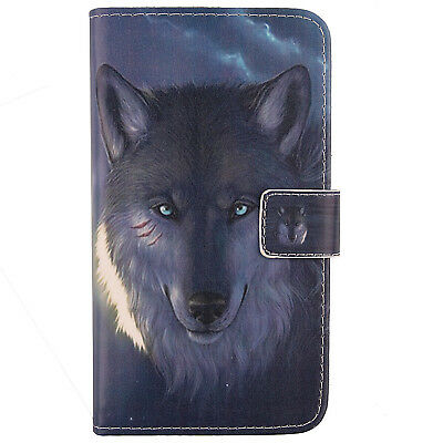 WOLF Leather Flip Wallet Slim PU Case Folio Cover Skin For SMARTPHONE