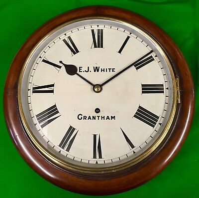 "Antique 12"" Mahogany Dial clock W & H (signed E.J White Grantham) !!Restored!!"