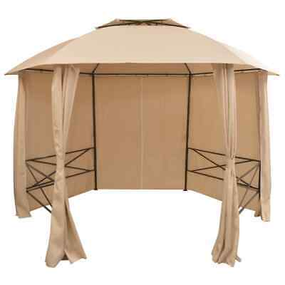 vidaXL Garden Marquee Pavilion Tent with Curtains Hexagonal 360x265cm Gazebo