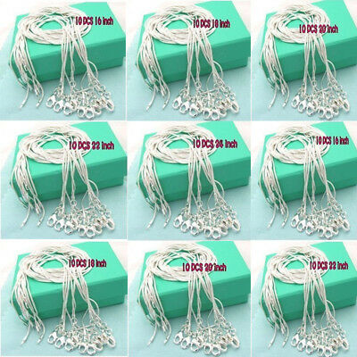 Uk Wholesale Price 10Pcs 1Mm Solid 925Silver Jewelry Snake Chains Necklace