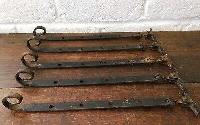 5 Salvaged Vintage Window Furniture *Monkey Tail Curly Window Stay Bars 10 1/2 ""