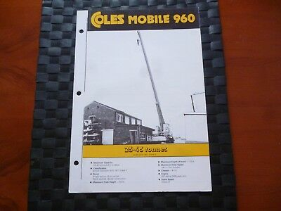 Coles Cranes Mobile 960 Provisional Specification Leaflet/brochure *as Pictures*