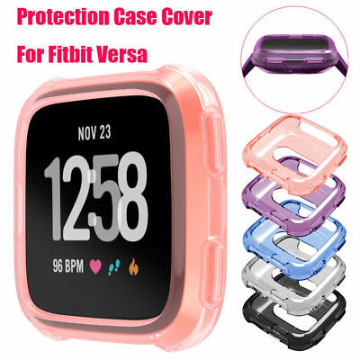 For Fitbit Versa Silicone Protective TPU Shell Case Screen Protector Frame Cover