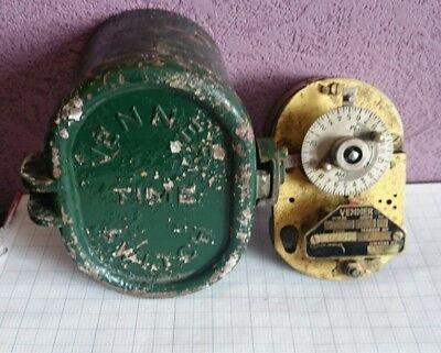 Vintage Brass Industrial Mechanical Clock Venner Time Switch Steam punk