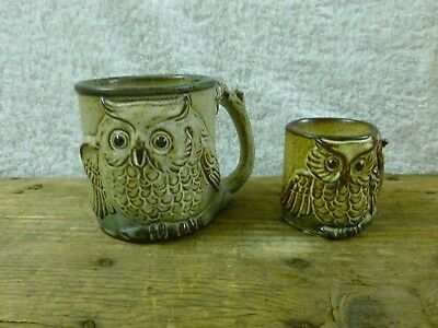 Vintage 'Gempo' Pottery Owl Coffee Mug & Matching Owl Egg Cup-Japan*